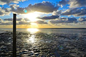 ZIcht op de waddenzee bij Moddergat van Mark van der Werf