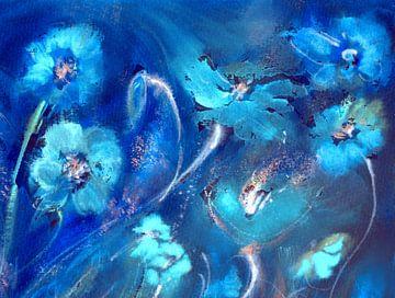Rauschen des Mohns in Blau von Claudia Gründler
