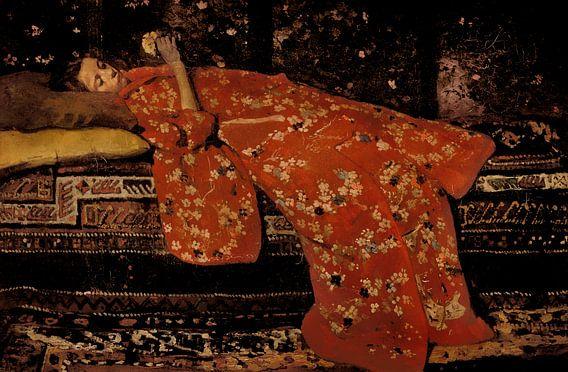 Breitner. Meisje in kimono van 1000 Schilderijen