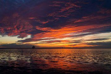 Sonnenuntergang Wattenmeer Insel Ameland von Nicole Nagtegaal
