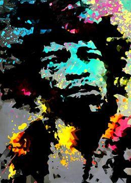 Jimi Hendrix Splash Colourful  von Felix von Altersheim