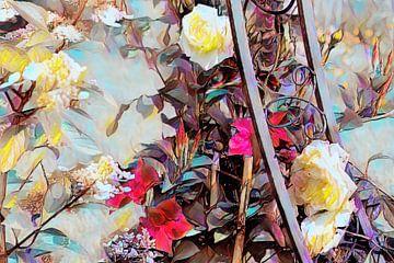 Rosenranke mit weißen Rosen Ölmalerei
