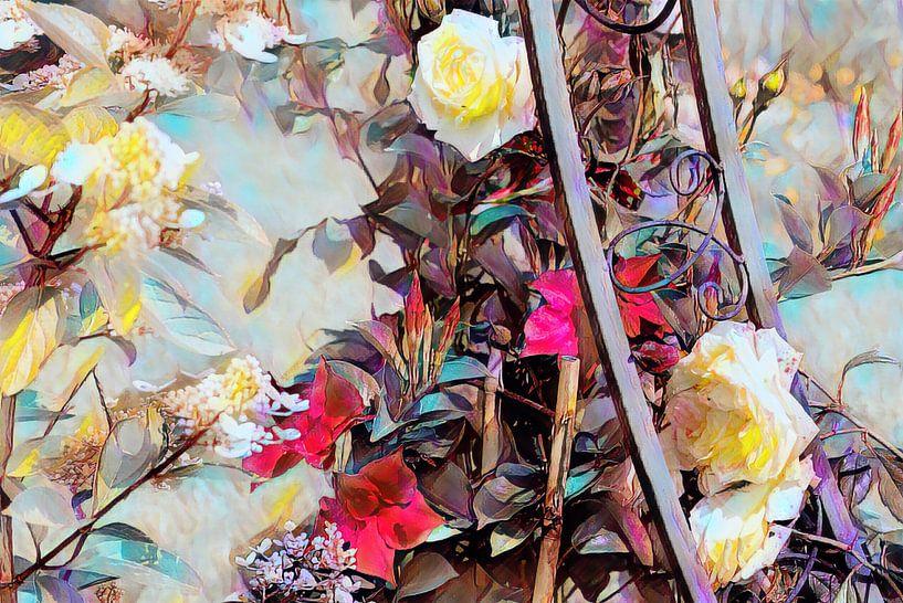 Rosenranke mit weißen Rosen Ölmalerei von Patricia Piotrak