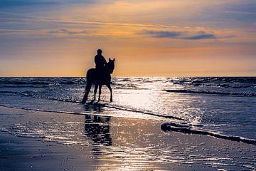 Ruiter met paard op het noordzeestrand von eric van der eijk