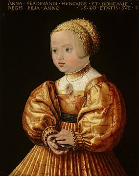 Portret van Anna van Oostenrijk, op 2-jarige leeftijd, Jacob Seisenegger