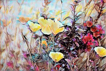 Kalifornischer Mohn und eine rote Blume