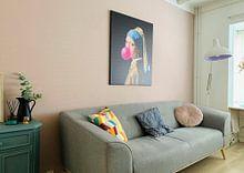 Klantfoto: Meisje met de Parel Bubble Gum van Maarten Knops, op canvas