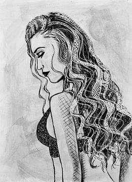 Federzeichnung Frau in Gedanken schwarz und weiß von Bianca ter Riet