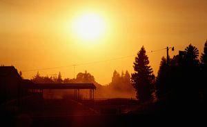 Zonsondergang tijdens roadtrip van