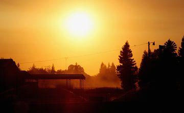 Zonsondergang tijdens roadtrip