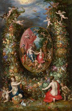 Fruchtgirlande um eine Darstellung von Cybele, die Geschenke erhält, Jan Brueghel der Ältere, Hendri