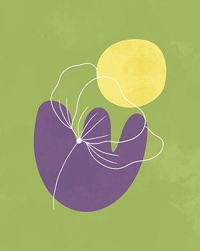 Minimalistisches Design in Frühlingsfarben, minimale Linien und Formen, abstrakte Gartenkunst mit Bl von Tanja Udelhofen