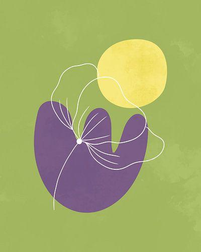 Minimalistisches Design in Frühlingsfarben, minimale Linien und Formen, abstrakte Gartenkunst mit Bl