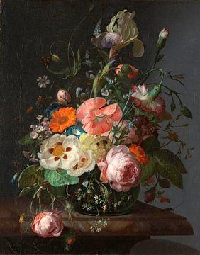 Stilleven met bloemen op een marmeren tafelblad, Rachel Ruysch