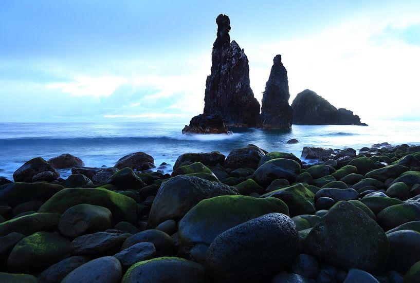 Ilhéus da Ribeira da Janela liggen voor de kust van Madeira. van Jacques van der Neut