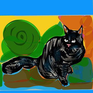 Kat  felle kleuren van Raina Versluis