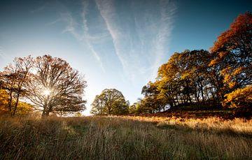 Zonsondergang aan het einde van een herfstdag in Schotland van Guido Boogert