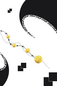 Schwarzweiß Abstrakt Nr. 8 | gold von Melanie Viola