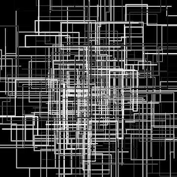 Abstracte lijn 1 zwart-wit netwerk van Jörg Hausmann