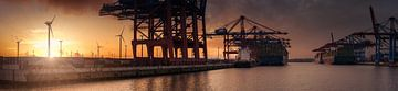 Grand panorama au coucher du soleil d'un terminal à conteneurs à Hambourg sur Jonas Weinitschke