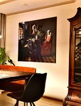 Kundenfoto: Das Glas Wein mit der Perle, auf leinwand