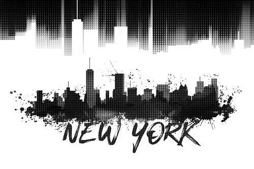 Graphic Art NYC Skyline | black van Melanie Viola