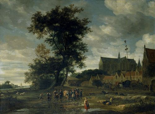 Grote of Sint-Laurenskerk vanuit het zuiden, met een meiboom, Salomon van Ruysdael van Meesterlijcke Meesters