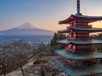Pagode met uitzicht over Mount Fuji vulkaan, Japan van Teun Janssen
