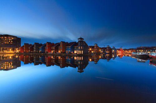 Het blauwe uur in Reitdiep Haven - Groningen, NL van