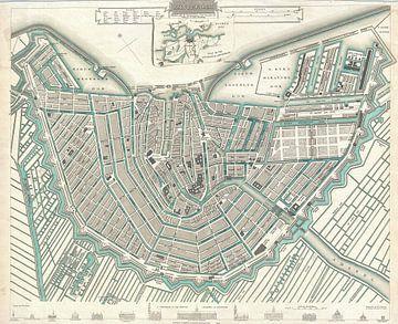 Amsterdam, gedetailleerde oude stadsplattegrond 1835 van Atelier Liesjes