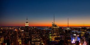 Zonsondergang New York van Michiel Mos
