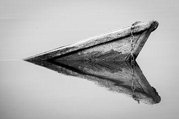 Zwart wit reflectie van een oude, verzonken boot