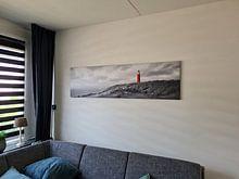 Klantfoto: Zonsondergang vuurtoren Texel Panorama van Vincent Fennis, op canvas