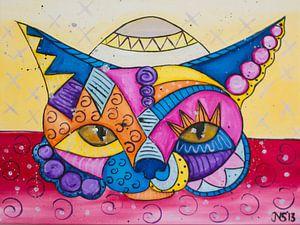 colorful Cat-3 van Nathalie Snoeijen-van Eck