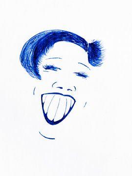 Illustratie portret Lachende vrouw van Henriette Mosselman