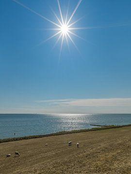IJsselmeer dijk in Gaasterland en de zon als ster von Harrie Muis