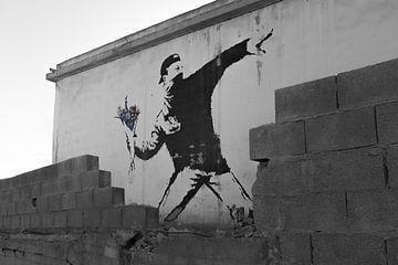 Banksy 'Rage' / 'Flower Thrower' graffiti kunstwerk van Sander Jacobs