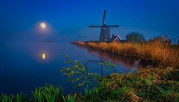Volle maan, supermaan in het Twiske,  Amsterdam van Rietje Bulthuis