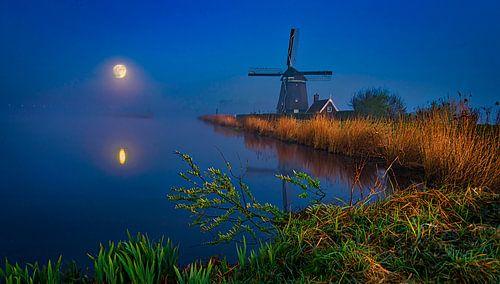 Volle maan, supermaan in het Twiske,  Amsterdam