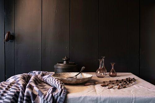 Oud Hollands stilleven met tin en glas
