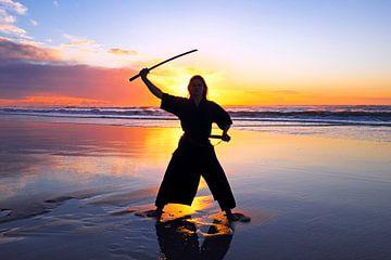 Samurai vrouw met Katana zwaard op het strand bij zonsondergang van Nisangha Masselink
