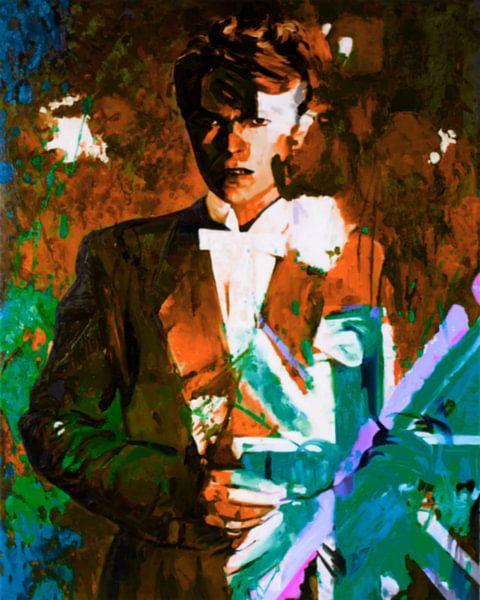 Motiv David Portrait  Bowie Union Jacks - The Duke Chic - Gold Braun van Felix von Altersheim