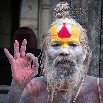 Een sadhoe voor de tempel in Nepal van Rietje Bulthuis