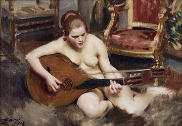 Vrouwelijk naakt, Luitspeler, Anders Zorn - 1918 van Atelier Liesjes