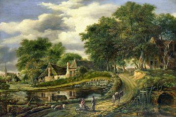 Digitaal gerestaureerd. Landschap, Julien Joseph Ducorron, digitaal gerestaureerd van Lars van de Goor