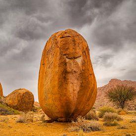 Woestijn landschap met uniek rotsblok in de vorm van een ei. van Chris Stenger