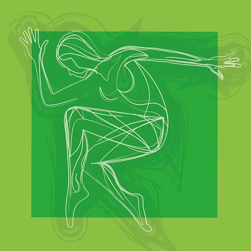 Bewegen is vrijheid en emotie (Groen) van Color Square