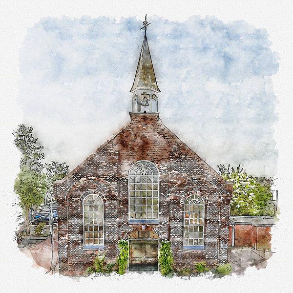 Gereformeerde kerk in Bruinisse (Zeeland) (aquarel) van Art by Jeronimo
