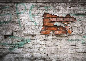 Oude muur (in Doel België) van Nicky Kapel