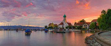 Een zonsondergang in Wasserburg